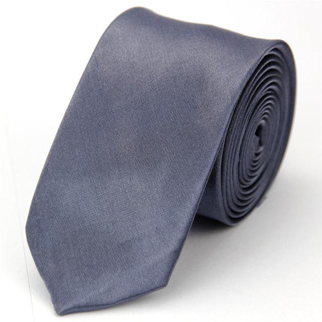 Skinny Tie for Men Jacquard Woven Fashion Man Accessories Solid Silver Grayeosegal-eosegal