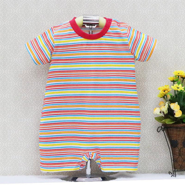 2018 Little Q spring and summer baby prue cotton one pieces striped bodysuits short sleeve newborn clothes-eosegal