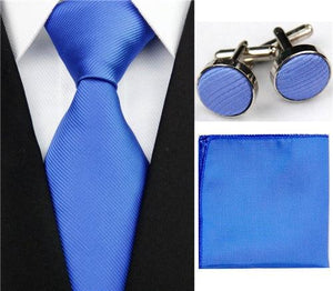 Mens Accessories Solid Striped Slim Business Silk Tie Sets Hanky Handkerchief Cufflinkseosegal-eosegal