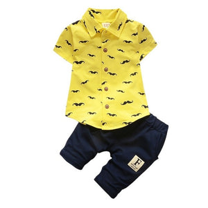 Baby Boy Clothing Sets Bebe Fashion T-shirt+Solid Pants Set Summer Kid Outfit Toddler Children Cotton Tracksuit Clothes-eosegal