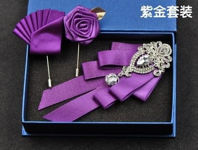 Free Shipping mens male fashion diamond high-end bow groom groomsmen wedding collareosegal-eosegal