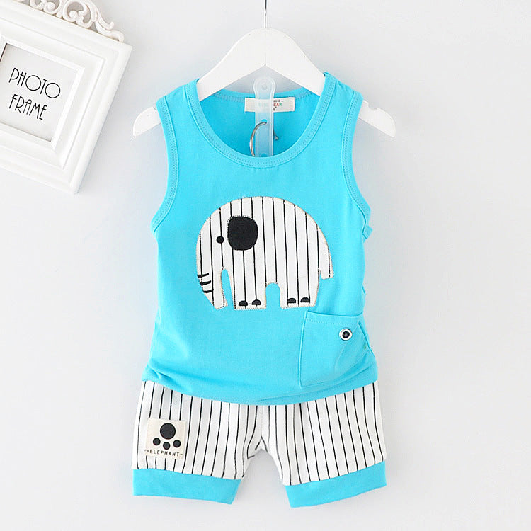 Baby Boy Summer Clothes 2018 Korean Cute Striped Elephant Sleeveless Vest + Shorts 2PCS Infant Clothing Kids Bebes Jogging Suits-eosegal