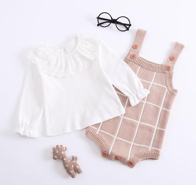 Baby Knitted Romper Cotton Woolen Baby Girls Boys Clothes Newborn Infant Jumpsuit Plaid Sleeveless Toddler Overalls Outfits-eosegal