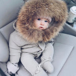 Infant Baby Rompers Winter Clothes Newborn Baby Boy Girl Knitted Sweater Jumpsuit raccoon Fur Hooded Kid Toddler Outerwear-eosegal