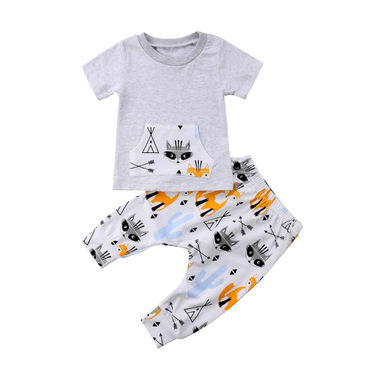 Newborn Kids Baby Boy Pocket Tops T-shirt +Fox Long Pants 2Pcs Outfit Set Clothes 0-2Years-eosegal