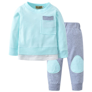 Newborn Infant Clothes Baby Boys Girls Clothing Sets Cute Long Sleeve T-shirt Tops + Long Pants 2Pcs Toddler Outfits Set-eosegal