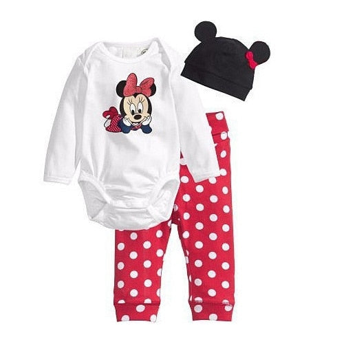 Baby Rompers Long Sleeve Cotton Baby Girl Clothes Cartoon Animal Mickey Minnie Baby Boy Romper+Hat+Pant Newborn Clothing Sets-eosegal