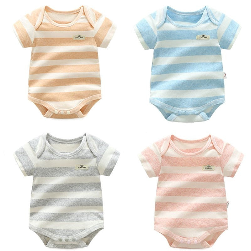 4PCS/LOT Top Quality Baby Bodysuit Infant Jumpsuit Overall Short Sleeve Body Suit Bebe L Baby Clothing Set Summer 4colors 0-12M-eosegal