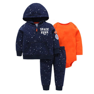 2018 Hot Sale Spring Autumn Kids Baby Boy Clothing Suit Long Sleeve Bear Model Zipper Hooded+rompers+pant Winter Warm Clothes-eosegal