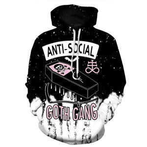 2018 3D Hoodies Men Anti Social Club 3D Skull Print Hoodyeosegal-eosegal