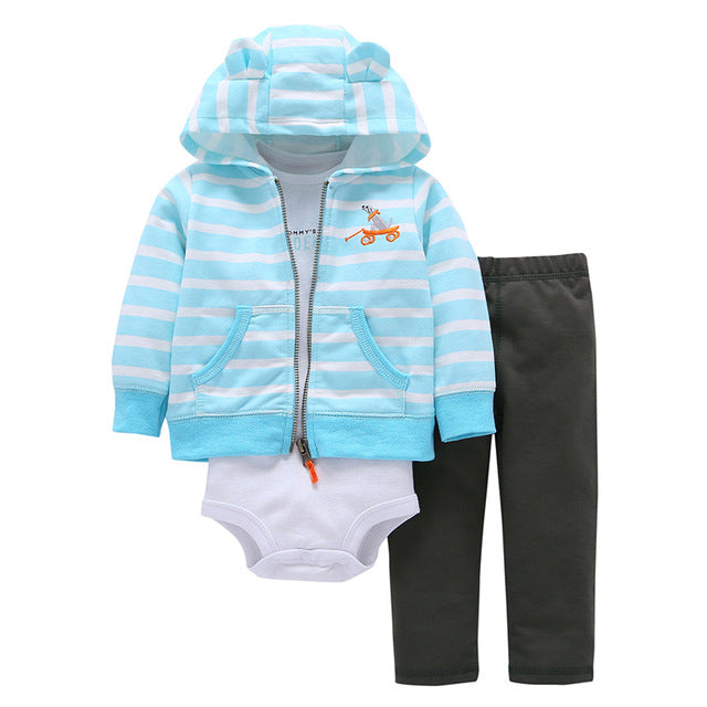 2018 Direct Selling Cotton Fleece Baby Boys Cartoon Deer Coat+cotton Romper+full Length Pants 3 Pieces Sets Clothes New Brand-eosegal