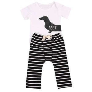 Tem Doge 2Pcs Infant Twins Baby Girl Boy Best Friends Short Sleeve Romper+Striped Pants Outfit Clothes-eosegal