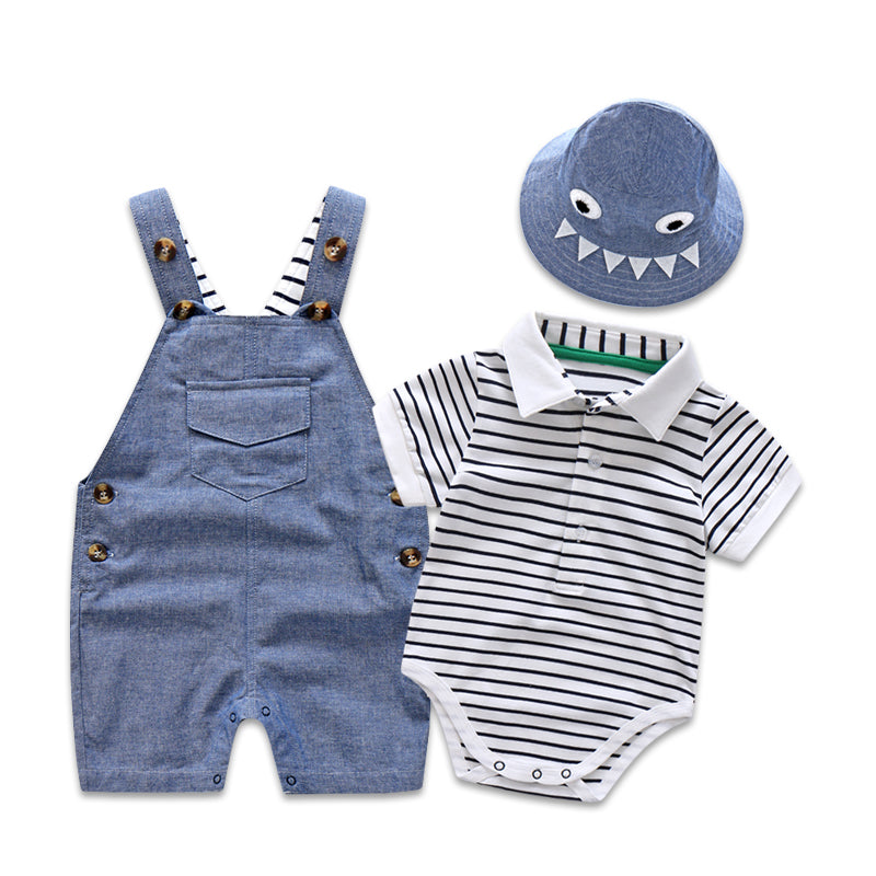 Newborn Baby Clothing Set for Boys Summer Suit Set Hat+Striped Romper+Blue Overall Suit Casual Children Boy Clothes Outfit-eosegal