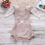 2018 Baby Bodysuit Khaki Lovely Rabbit Ears Baby Girl Onesie Bodysuits New Born Baby Girl Newborn Clothes Funny Onesie Fashion-eosegal