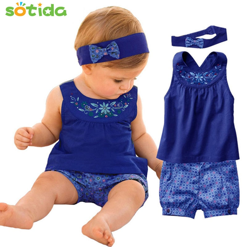 Baby clothes Fashion Blue baby suits Baby kerchief+ sleeveless dress+ gingham plaid pant New arrived free shipping baby clothes-eosegal