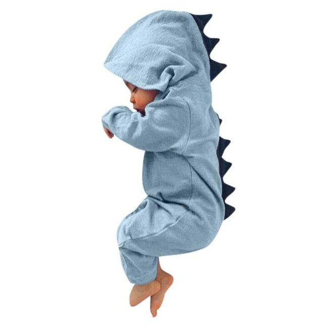 MUQGEW Newborn Infant Baby Boy Girl Dinosaur Hooded Romper Jumpsuit Outfits Clothes Kawaii Solid Clothing jumpsuit For Unisex-eosegal
