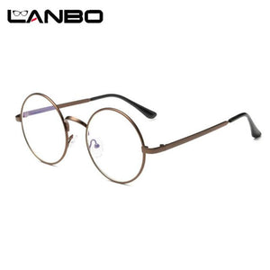 LANBO Cheap Small Round Nerd Glasses Clear Lens Unisex Gold Round Metaleosegal-eosegal