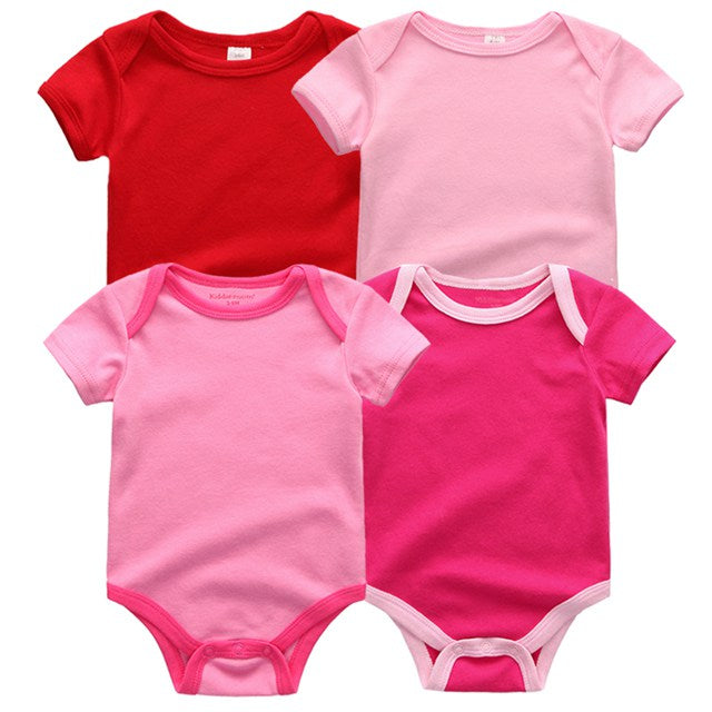 Kiddiezoom 4PCS/lot Baby Girls Romper Short Sleeves Cute Print Summer boy Clothing Set roupa menina Newborn clothes baby costume-eosegal