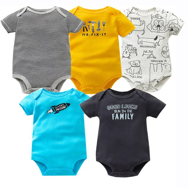 5 PCS/LOT Baby Bodysuits Cotton Infant Jumpsuit Short Sleeve Newborn Baby Clothing 2018 Summer Baby Girls Boys Clothes 6-24Month-eosegal