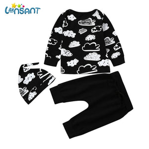 LONSANT Clothing Sets Casual Print T Shirt Tops + Pants Funny Baby Clothes Conjunto Menino Baby Girls Boys Clothes A0332-eosegal