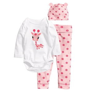 Baby's Girl Sets Mickey Minnie Cotton Newborn Clothing Full Sleeve Bodysuit+Pant+Hat Spring Infant Jumpsuit Baby Boy Clothes-eosegal