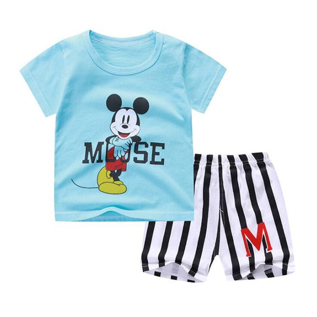 Summer Baby Outfits Baby Boy Girl Clothing Set T shirt + Shorts 2 Suits-eosegal