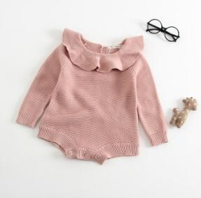 Milancel Knit Baby Bodysuits Winter Baby Girls Clothes Ruffle Collar Girls Bodysuits Kids Knitted Jumpsuits-eosegal