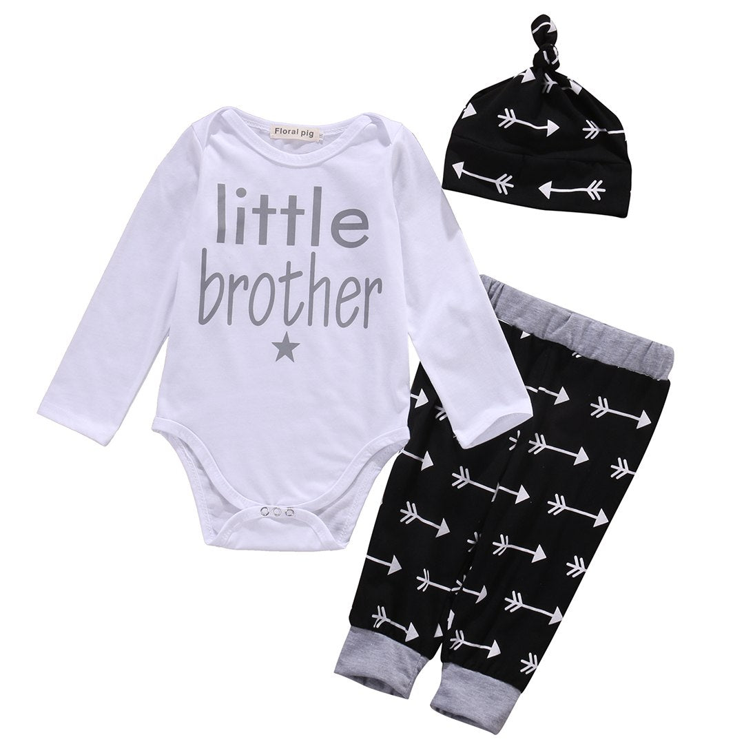 2016 kids baby clothes baby clothing sets Newborn Baby Boys arrow Romper Tops +Long Pants Hat 3PCS Outfits Set Clothes Pajamas-eosegal