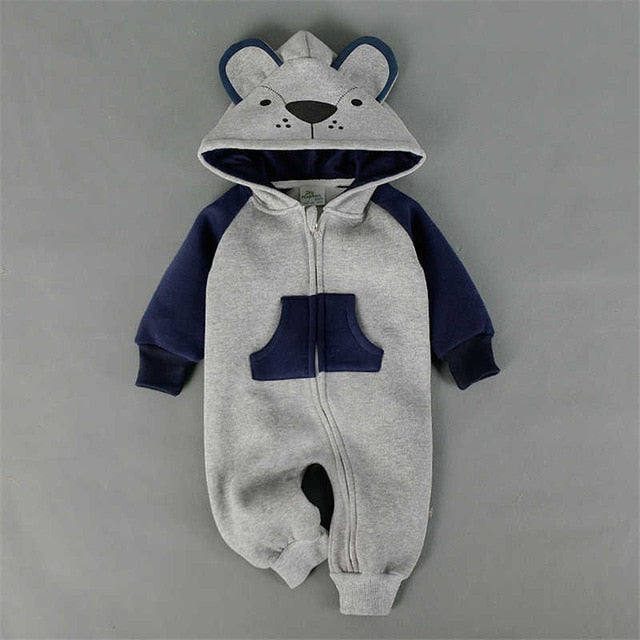 New Fashion Animal Baby Romper Fox Infant Clothing Baby Boy Girl Clothes Cute Cartoon Bear Warm Jumpsuit Lovely Kids Costume-eosegal