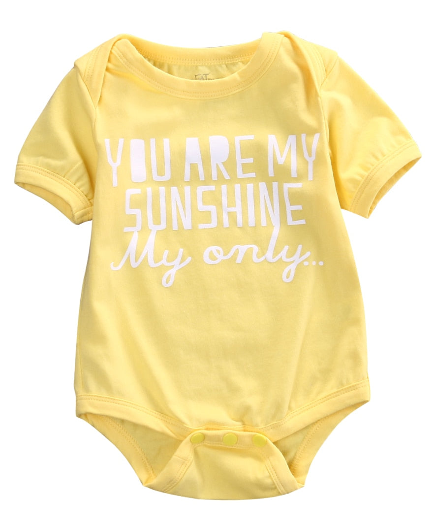 Newborn Kids Baby Girls Infant Clothes Letter Short Sleeve Rompers Cotton Jumpsuit baby clothing-eosegal