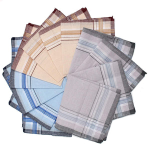 12pcs/lot Men Plaid Square Handkerchiefs, 36x36cm Cotton Soft Vintage Men's Business Suiteosegal-eosegal