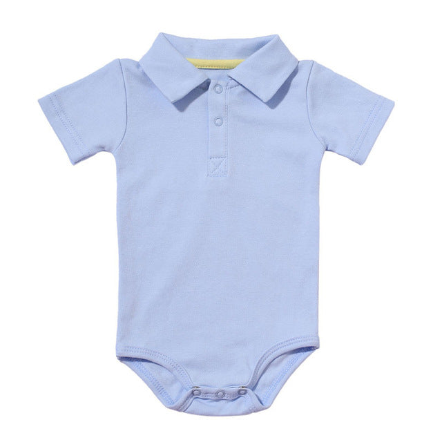 Baby Boys Rompers Summer Polo Shirt Infant Jumpsuit Solid Cotton Girls Clothing Short Sleeve Newborn Baby Boy Clothes 8 Colors-eosegal