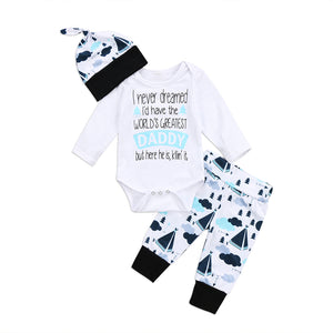 New Casual Newborn Boys Girls Clothes Greatest Print Letter Daddy Romper Long Pants Clothes Outfits Set 0-24M-eosegal