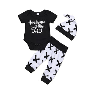 New Casual Cotton Newborn Baby Boys Clothes Set Top Short Sleeve O-Neck Romper Pants Leggings Hat Outfits Clothes-eosegal