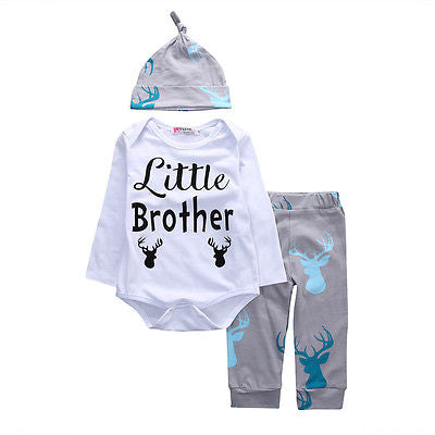Fashion Baby Deer Clothing Newborn Baby Boys Little Brother Rompers Tops Long Pants Hat Outfits Set Kids Clothes Winter-eosegal