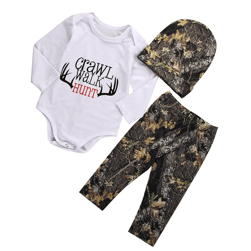 3PCS New Casual Newborn Baby Boys Girls Clothes Long Sleeve Tops Romper Pants Hat Outfits Set Clothes-eosegal