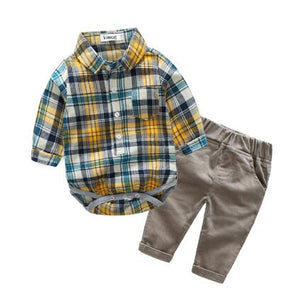Newborns clothes new red plaid rompers shirts+jeans baby boys clothes bebes clothing set-eosegal