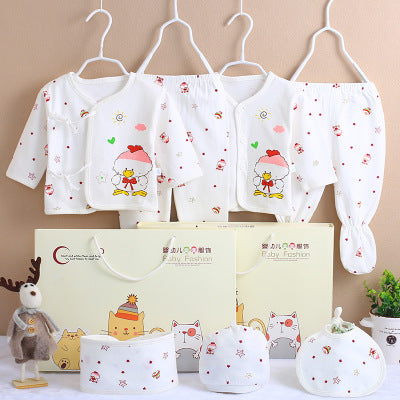 7 PCS/set 0-6M Newborn Baby Clothing Set Baby Boy Girl Spring Clothing 100% Cotton Cartoon Underwear Baby's Sets,Gift Box-eosegal