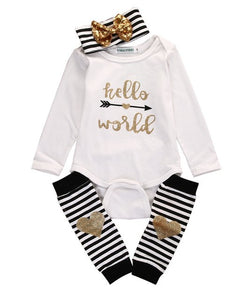 Pudcoco Newborn Baby Boy Girls Hello World Bow Romper Socks Outfits Set Clothes Long Sleeveless Striped New Hot Casual-eosegal