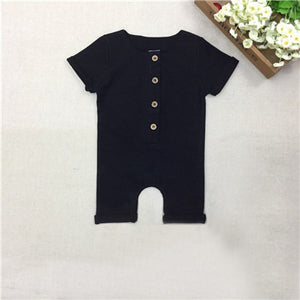 COSPOT Baby Boys Summer Short Rompers Boy Cotton Jumper Kids Fashion Plain Black Gray Jumpsuit 0-2Yrs 2018 New Arrival D30-eosegal
