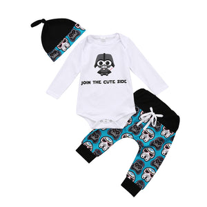 New Fashion Newborn Baby Boy Girl Clothes Long Sleeve O-Neck Tops Romper Pants Hat 3Pcs Outfits Set Clothes-eosegal