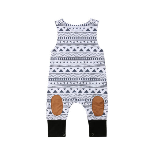 Toddler Baby Boys Girls Romper Geometric Patchwork Jumpsuit Outfits Set Playsuit Baby Clothing-eosegal