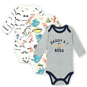 3PCS/Lot Baby Bodysuit Newborn Bebe Boy Girl Clothing 100%Cotton Long Sleeves O-Neck Striped Floral Infant Clothes-eosegal
