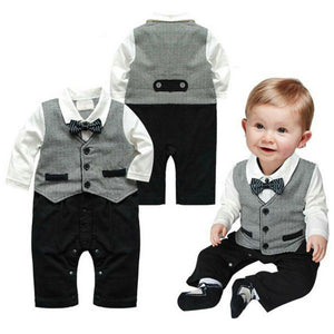Baby Boy Clothing Set Formal Gentleman Infant Clothing Baby Suit Long Sleeve Button Necktie Suit Romper 0-18M-eosegal