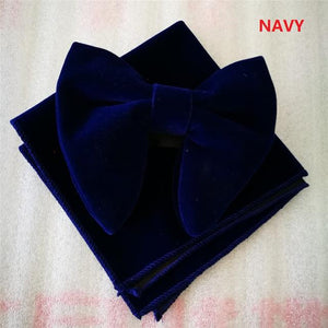 Wedding Party Classic Red Men's Velvet Adjustable Bowtie Sets with Handkerchiefeosegal-eosegal