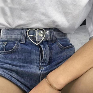 2018 New Women's Strap Casual Transparent Pvc Women Strap White Color heart Belts Top Quality Fashion Jeans Belt-eosegal