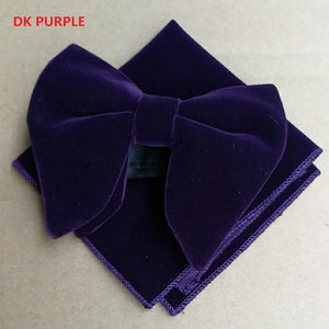 Classic Mens DK Purple Velvet Bowtie Sets hanky Unique Tuxedoeosegal-eosegal