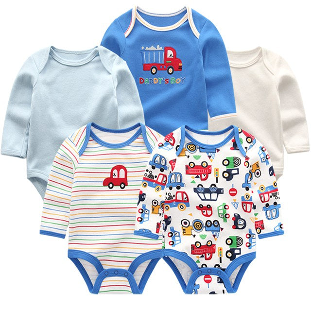 5pcs/ lot New Baby boys clothes sets Long Sleeves winter Novelty Newborn Overalls bodysuits Infant Clothing-eosegal