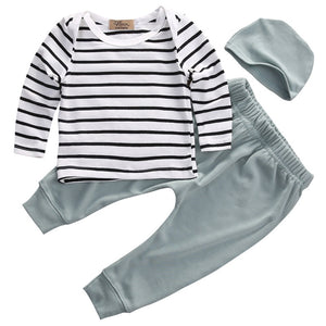 New Casual Newborn Baby Boy Girl Long Sleeve Striped O-Neck Tops +Long Pants Hat 3PCS Outfits Set Clothes-eosegal