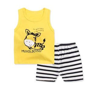 Boy Sleeveless Vest Summer Newborn print vest set cotton breathable baby clothing boys clothes cute cartoon baby boy clothing-eosegal